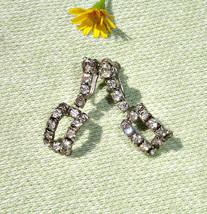 1950's Dangling Rectangle Rhinestone Screw back Earrings - $16.00