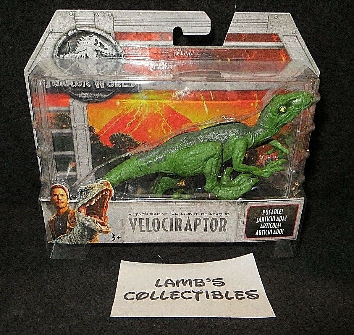 "Primary image for Jurassic World velociraptor 7"" long posable attack pack action figure toy Mattel"