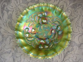 Northwood Strawberry Carnival Glass Green Iridized Ruffled Bowl - $420.75
