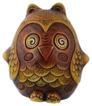 Ally Earthenware Brown Owl-Shaped Piggy Bank Handicraft Art Unique Design - $14.85