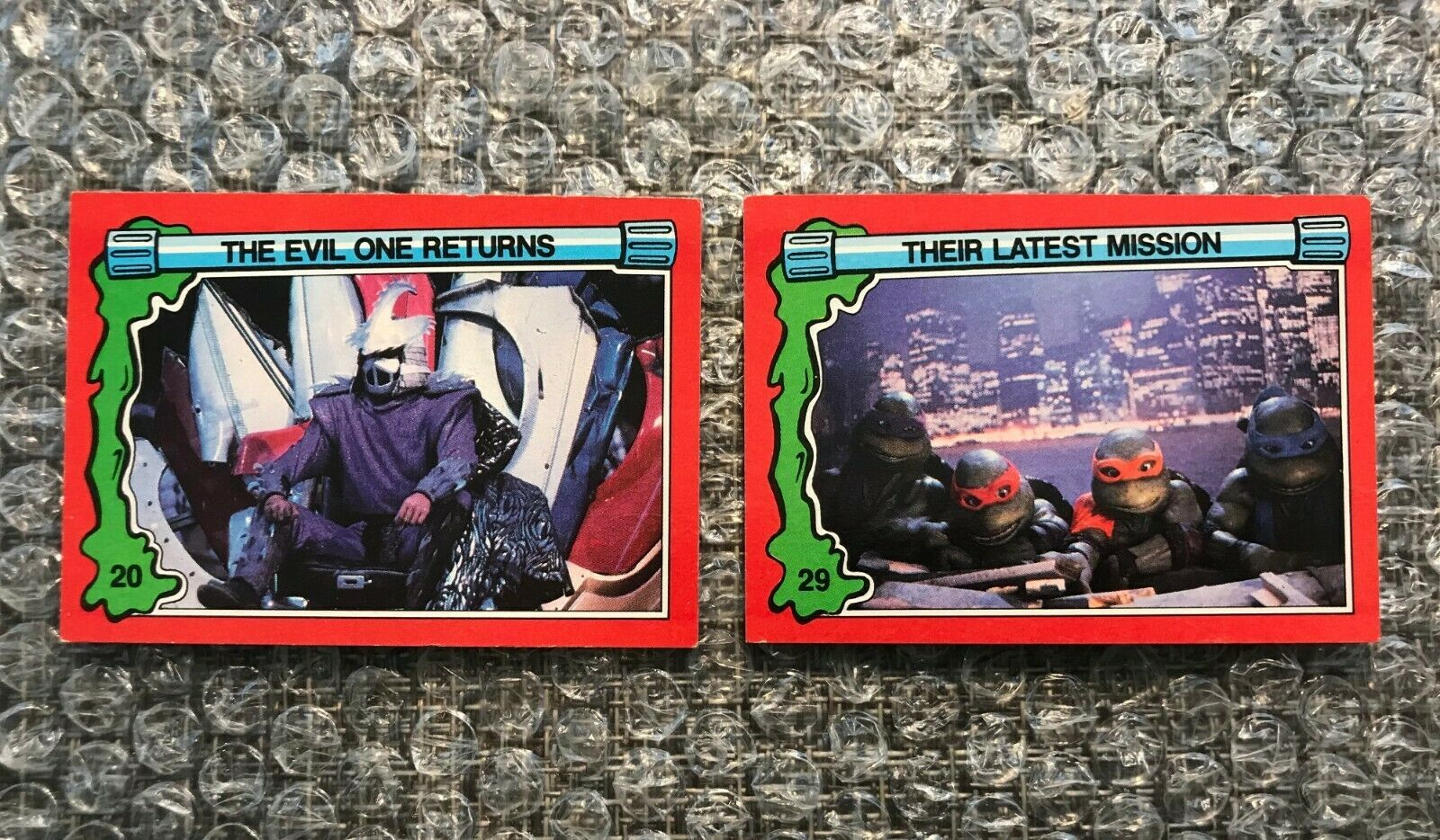 Primary image for 1991 Topps Teenage Mutant Ninja Turtles TMNT II Movie Cards Lot: #20 & #29