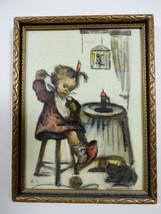 """VTG Hummel Framed Print Picture Frame Mother's Helper W. Germany 5.75"""" x... - $11.88"""