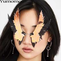 Fashion Oversized personality Wing Shape Sunglasses Women Vintage Rimless Clear  image 2