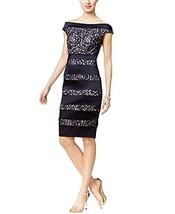 Jax Shoulder Lace Stripe Sheath Dress (Navy Nude, 8) - $119.95
