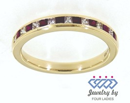 0.31 Carat Ruby Gemstone 14K Yellow Gold Real Diamond Stackable Band Jew... - $1,467.00