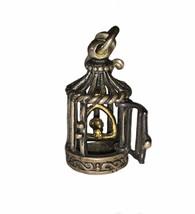 Vintage Sterling Silver 925 14k Mechanical Birdcage Charm Pendant Kabana - $74.25