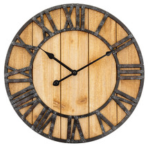 "Natural Wood Grain Raised Iron Roman Numerals Large 16"" Round Wall Clock... - $29.59"