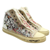 """ED HARDY Mens Size 11 Beige Skulls """"Death or Glory"""" Laceless High Top Sn... - $28.70"""