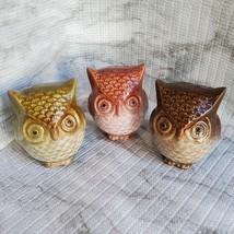 Ceramic Owls, set of 3, Decorative Accents, Fall Decor, orange green brown image 2