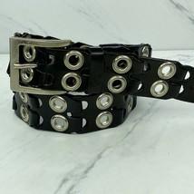 Italian Leather Grommet Black Belt Size Large Womens - $30.21