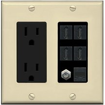 RiteAV 15A Power Outlet, 4 HDMI, 1 Cat5e Ethernet, 1 Coax Cable TV Wall Plate -  - $36.61