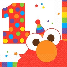 Elmo Turns One 16 Beverage Napkins 1st Birthday Party Sesame Street - $4.17