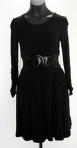 PLUM by Plum Pudding Girls Black Knit Dress 8 Long Sleeve Princess Cut w... - $28.45