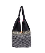 WOMENS CHEAK STYLE SHOPPING SHOULDER BAG GIRL COLLAGE BAG DARK BLACK ELE... - $24.58 CAD