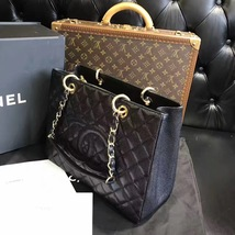 100% AUTHENTIC CHANEL CAVIAR GST GRAND SHOPPING TOTE BAG BLACK GHW image 4