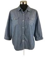 Karen Scott Womens Top XL Blue Chambray 3/4 Sleeve Button Chest Pockets ... - $15.04