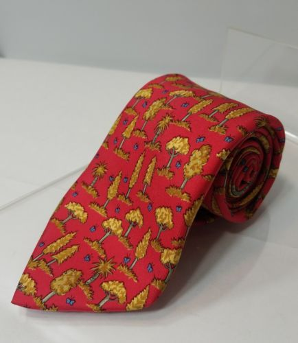 HERMES PARIS MEN'S TIE RADICAL RED GOLDEN TREES 7429 HA SILK MADE IN FRANCE EUC