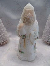 FENTON ART GLASS 2004 OPAL SANDED SANTA FIGURINE W/HP HOLLY SIGNED B. WI... - $138.99