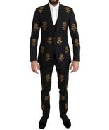 Dolce & Gabbana Black Wool Gold Crystal Bee Crown Slim Fit Suit - $8,439.15