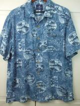 Caribbean Joe Men XL Hawaiian Party Shirt Cotton Blend Blue Palm Trees A... - $19.75