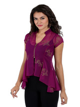Ira Soleil cap sleeves top with zipper made in chiffon fabric with gold ... - $49.99