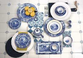 Spode Blue Italian 32 PC Set/Dinerware/Placemat/8 WHITE/BLUE MADE IN ENGLAND NEW - $4,989.90