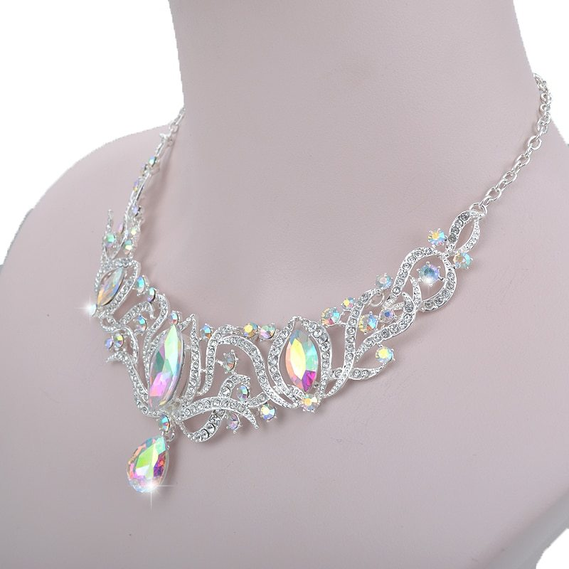 High quality india style silver Jewelry sets bridal necklace earrings set women  image 4