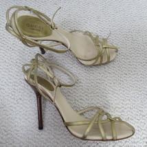 Gucci Sandals Heels Womens 8 B Gold Tone Ankle Strap Stiletto SR2 - $186.79