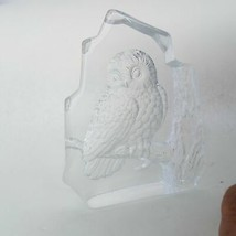 Owl Engraved Art Glass Home Decor Paperweight - $35.51