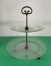 Princess House Crystal FANTASIA Tidbit Cookie Serving 2-Tiered Glass Tray - $24.70