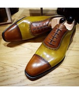 New Handmade Two Tone Cap Toe Leather Shoes - $158.99