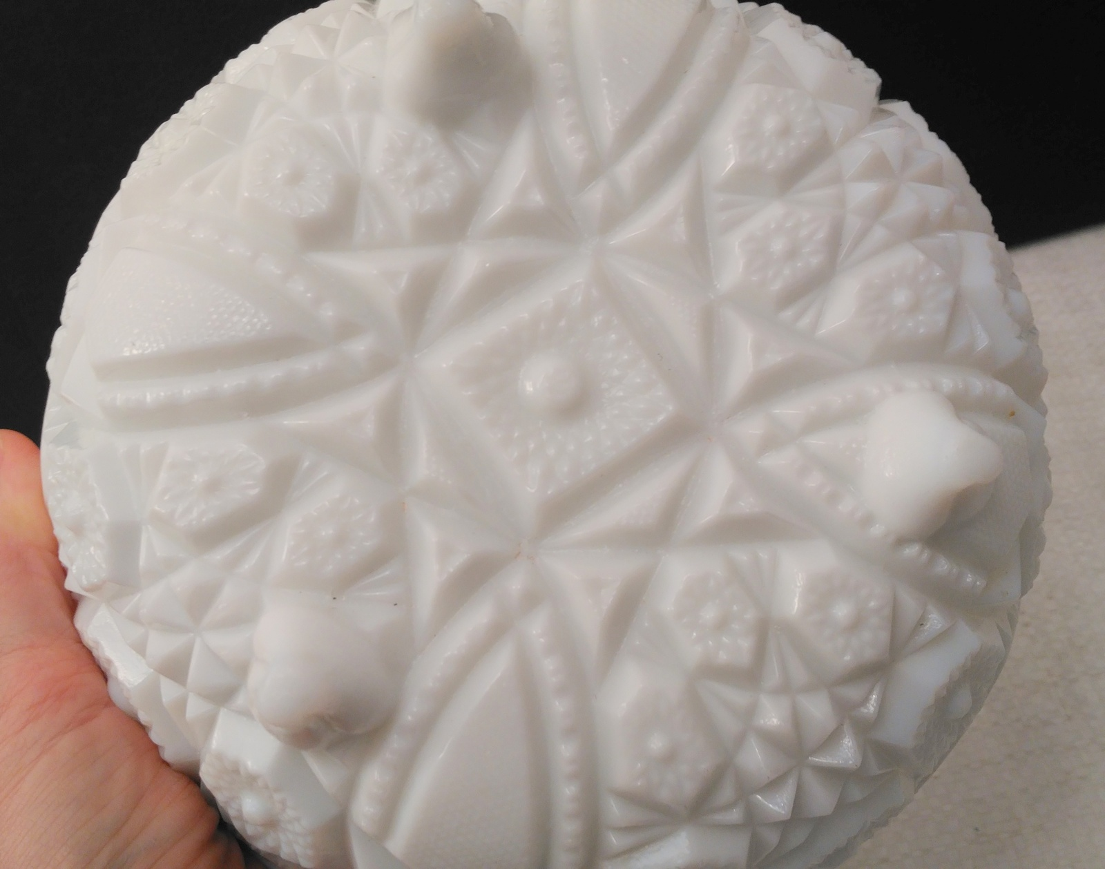 McKee Footed Milk Glass Bowl, Prescut, Toltec Pattern