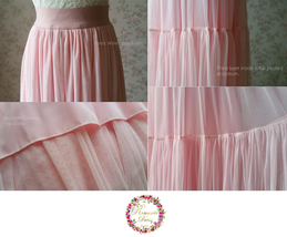 LIGHT BLUE Wedding Bridesmaid Tulle Skirt High Waist Floor Length Tulle Skirt image 7