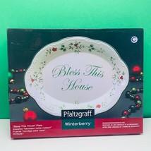 Pfaltzgraff Winterberry Bless this House plate nib box christmas holiday china - $28.80