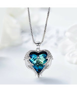 Angel Wings  Purple Crystal Heart Pendant Necklace Austria Crystals - $13.71