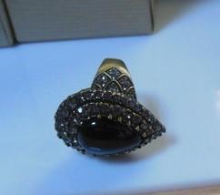 Heidi Daus Black Teardrop Cabochon Crystal Ring  Size 9 - $74.25