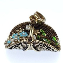 Rare Juicy Couture Retired Basket Of Flowers Charm For Bracelet - $217.80