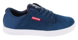 Supra Westway Boys Kids' Navy Suede/Navy Canvas/Red Skate Shoes 11K NEW image 2