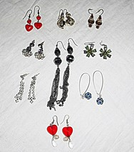 COOL VINTAGE COLLECTION LOT OF 9 DROP PIERCED  EARINGS GLASS LUCITE DIAM... - $17.33