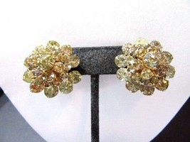 Clear Shiny Rhinestone Vintage Earrings Boutique Cluster Clip On Style Gold Tone - $15.00