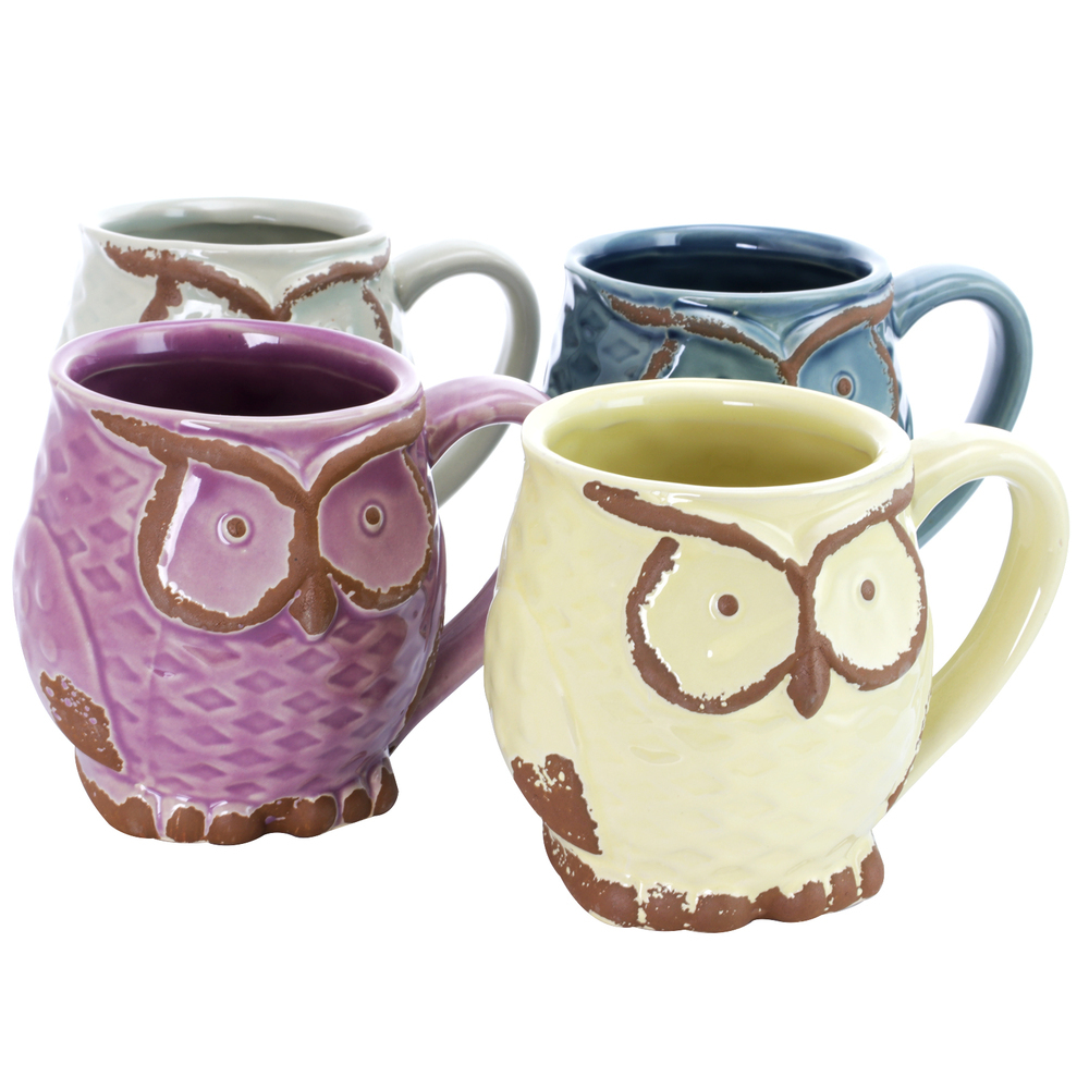 Primary image for Gibson Nocturnal Gaze 4 Piece 18 Ounce Stoneware Owl Mug Set in Assorted Colors