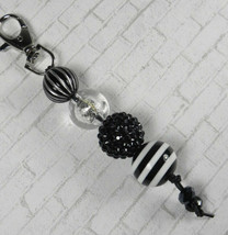 Rhinestone Stripe Bubbblegum Handmade Beaded Keychain Purse Charm Black ... - $14.54
