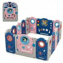 16-Panel Foldable Baby Safety Play Center with Lockable Gate - Size: 16-... - $207.19