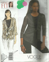 Vogue Pattern-Today's Fit by Sandra Betzina-Misses Cardigan & Top-Sizes OSZ - $8.56