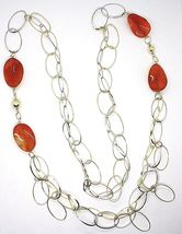 Silver 925 Necklace, Carnelian Oval Wavy, Double Chain, Long 110 CM image 3