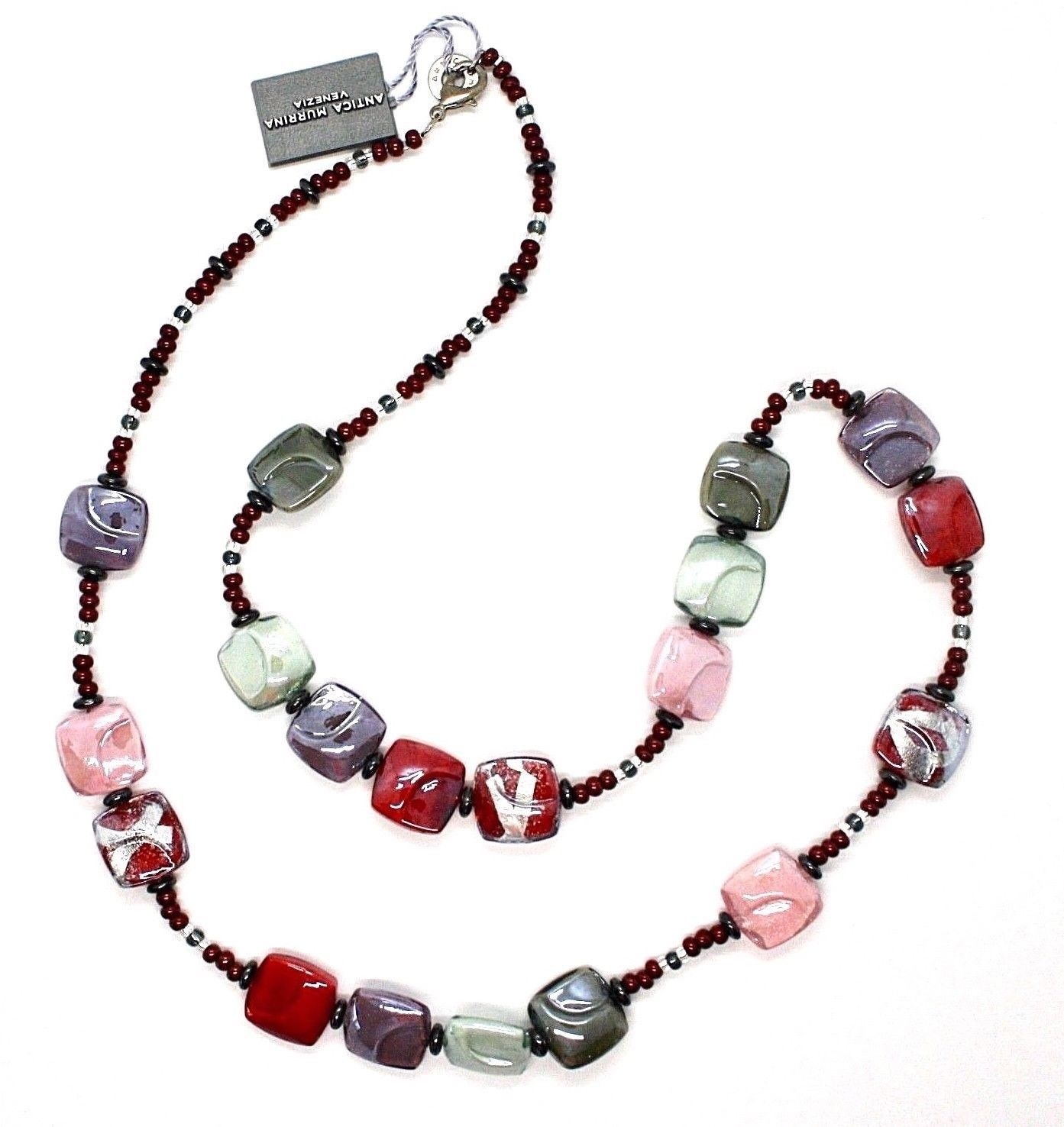 NECKLACE ANTICA MURRINA VENEZIA WITH MURANO GLASS PINK GRAY PURPLE CO987A11