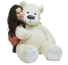 American Made Giant White Teddy Bear Soft 55 Inches Almost 5 Feet Tall - $127.21