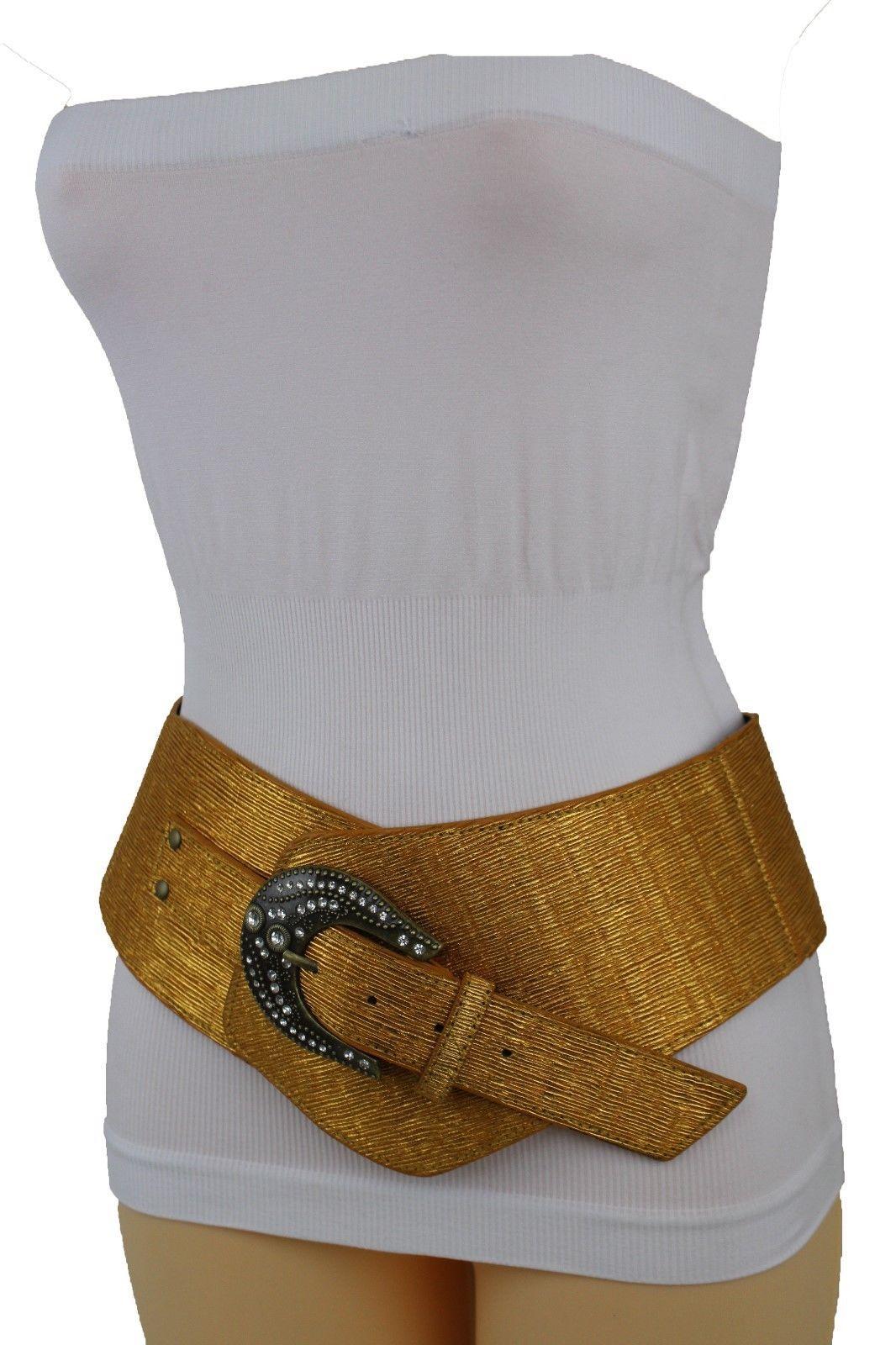 Women Silver Metal Buckles Narrow Fashion Belt Hip Waist Metallic Pink Size S M