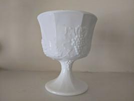 Mid Century Milk Glass Footed Vase Colony Harvest Grape Pattern Vintage ... - $30.00