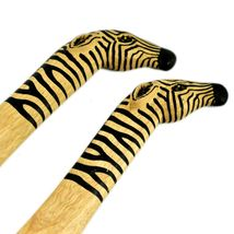 Acacia Creations Hand Carved Wood Safari African Zebra Salad Servers Set image 4